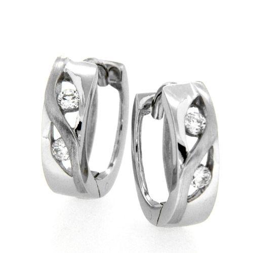 Scharniercreolen Silber 925 rhodiniert Zirkonia