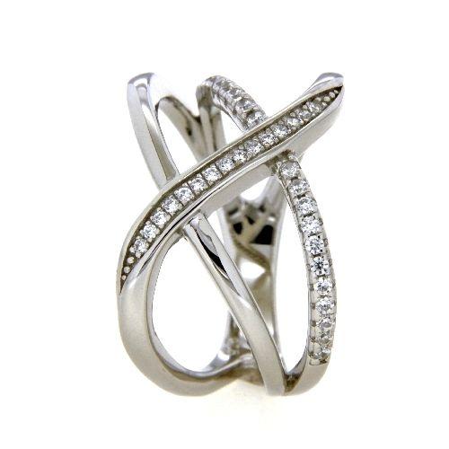 Ring Silber 925 rhodiniert Zirkonia Weite 64