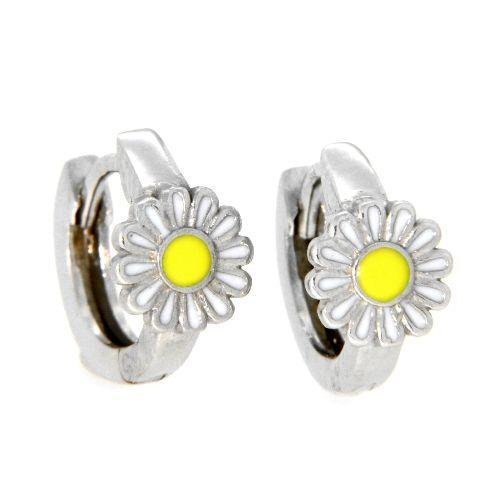 Scharniercreolen Silber 925 rhodiniert Blume