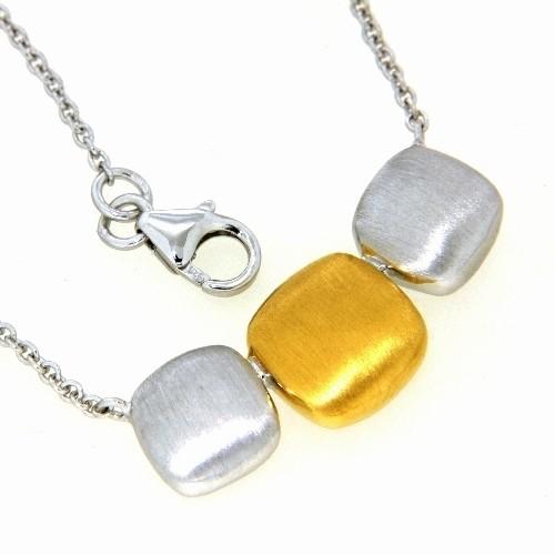 Collier Silber 925 rhodiniert & vergoldet 42+3 cm