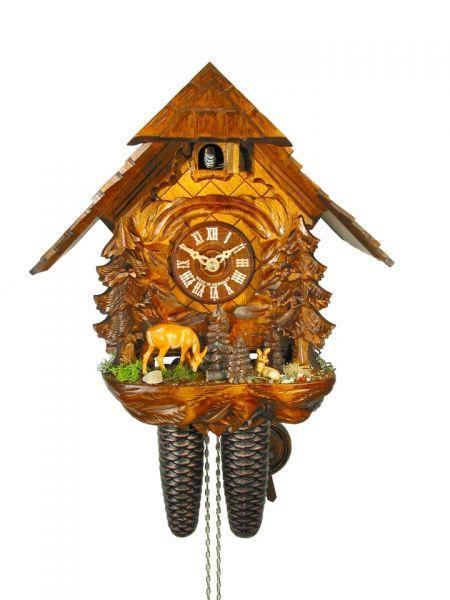 August Schwer Kuckucksuhr 8T Haus Reh mit Kitz 30 cm 2.0402.01.C