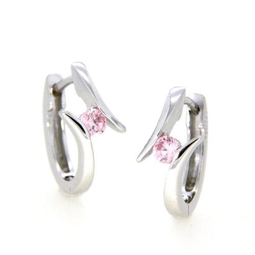 Scharniercreolen Silber 925 rhodiniert Zirkonia pink