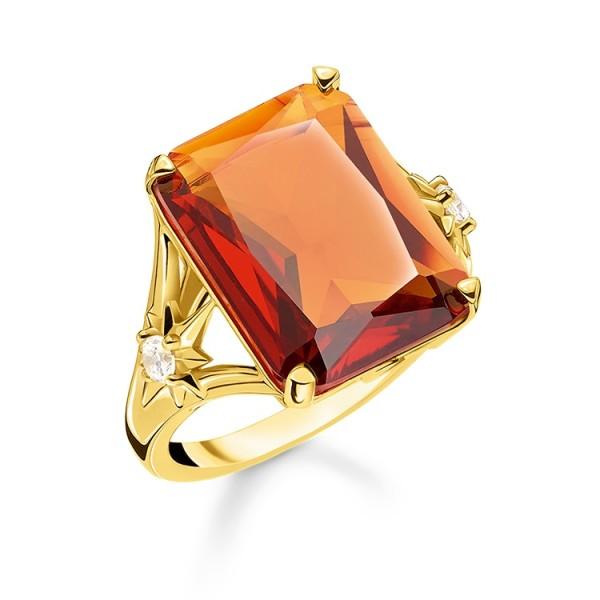 Thomas Sabo Ring Stein orange vergoldet Größe 48 TR2261-971-8-48
