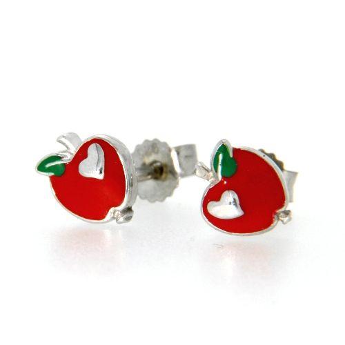 Ohrstecker Silber 925 rhodiniert Apfel rot
