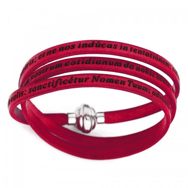 AMEN Armband 60 cm Leder rot VATER UNSER Latein PNLA08-60