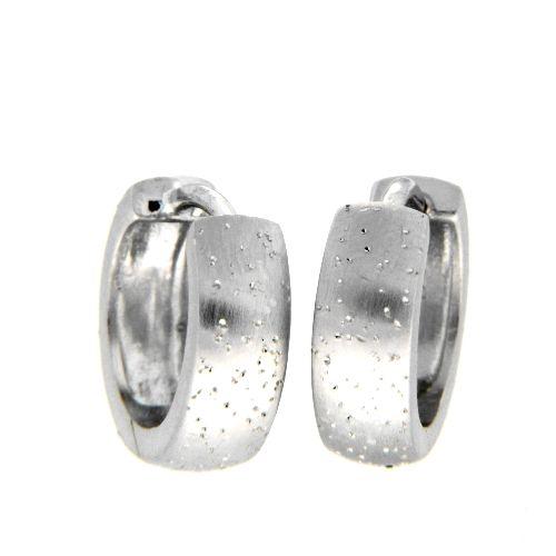 Scharniercreolen Silber 925 rhodiniert Sternenstauboptik