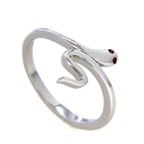 Ring Silber 925 rhodiniert Zirkonia rot Schlange Weite 54
