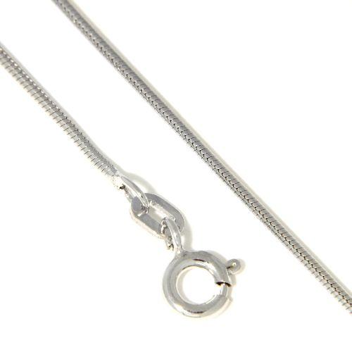 Schlangenkette Silber 925 rhodiniert 1,1mm rund 50 cm