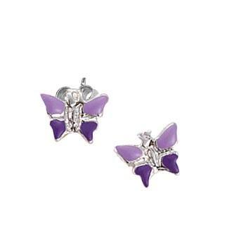 SCOUT Ohrschmuck silber, lila Schmetterlinge 262129100