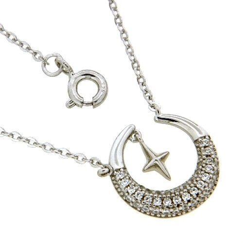 Kette mit Anhänger Silber 925 rhodiniert 42 cm+3 cm Zirkonia Mond mit Stern