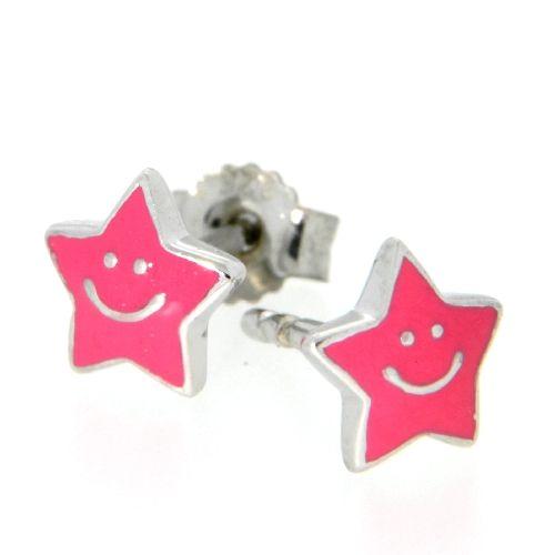 Ohrstecker Silber 925 rhodiniert Stern pink