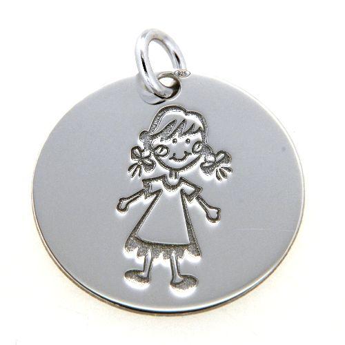 Gravurplatte Silber 925 rhodiniert Mädchen