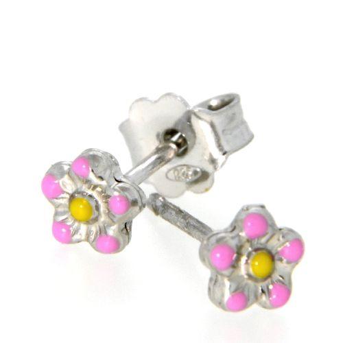 Ohrstecker Silber 925 rhodiniert Blume pink und gelb