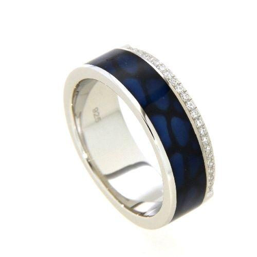 Ring Silber 925 rhodiniert Weite 60 Emaille blau Zirkonia