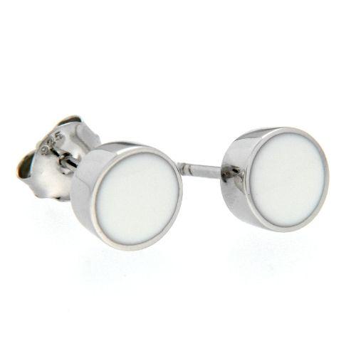 Ohrstecker Silber 925 rhodiniert Lack weiss