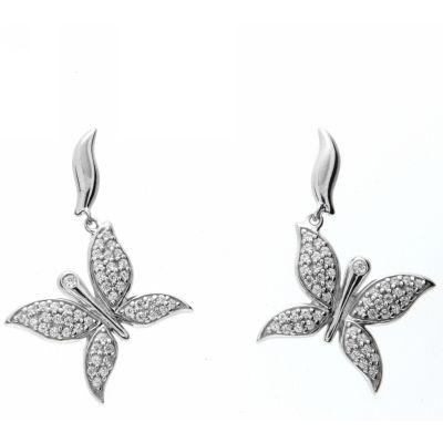 Ohrpendel Silber 925 rhodiniert Schmetterling