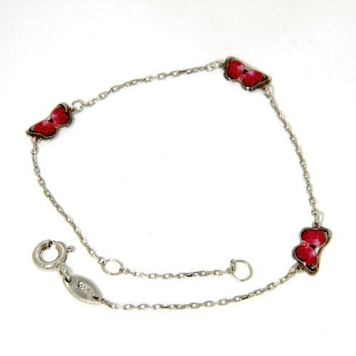 Kinderarmband Silber 925 rhodiniert 16 cm-14 cm Schmetterling