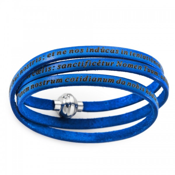 AMEN Armband 60 cm Leder blau VATER UNSER Latein PNLA06-60