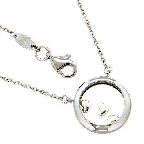 Collier Silber 925 rhodiniert 45-42 cm tanzende Herzen