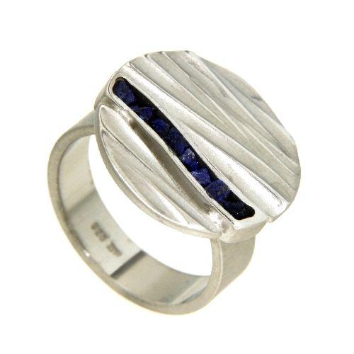 Ring Silber 925 rhodiniert Lapislazuli Weite 60