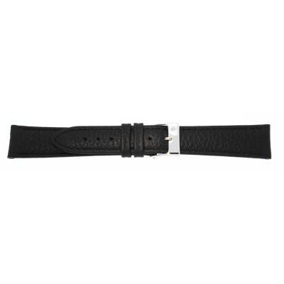 Uhrarmband Leder 18mm schwarz Edelstahlschließe