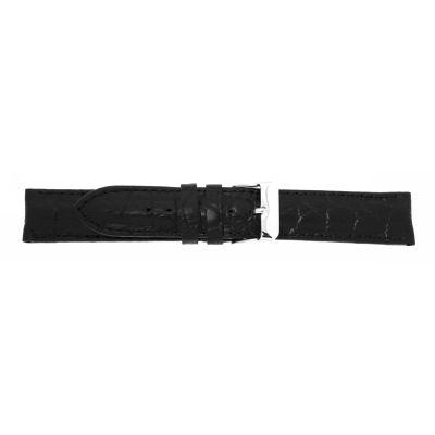 Uhrarmband Leder 20mm Wasserfest (WF) schwarz Edelstahlschließe