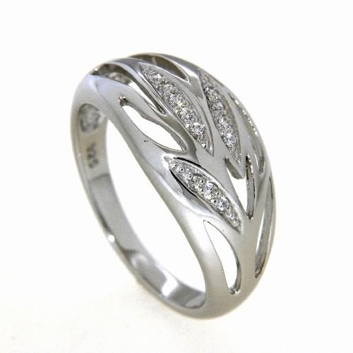 Ring Silber 925 rhodiniert s. c. Zirconia Weite 54