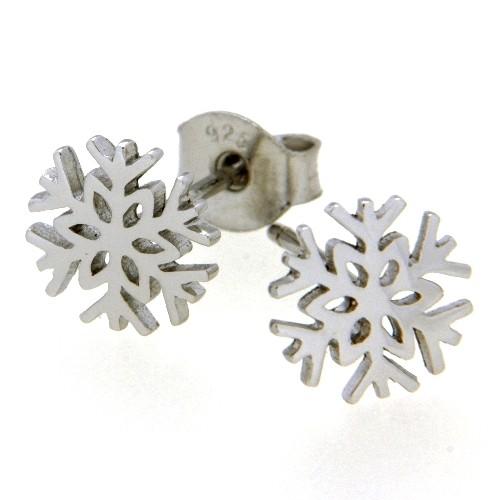 Ohrstecker Silber 925 rhodiniert Schneeflocke