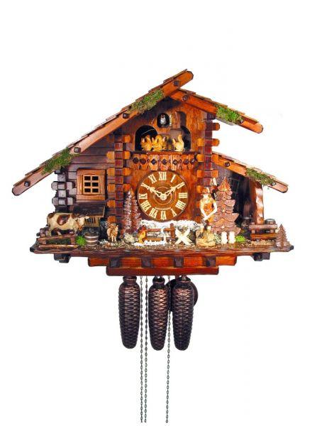 August Schwer Kuckucksuhr 8T Jagdhaus Bauernhof 35 cm 5.8785.01.P