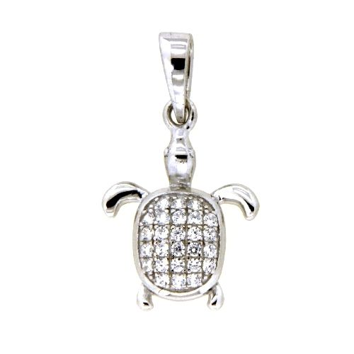 Anhänger Silber 925 rhodiniert Schildkröte Zirkonia