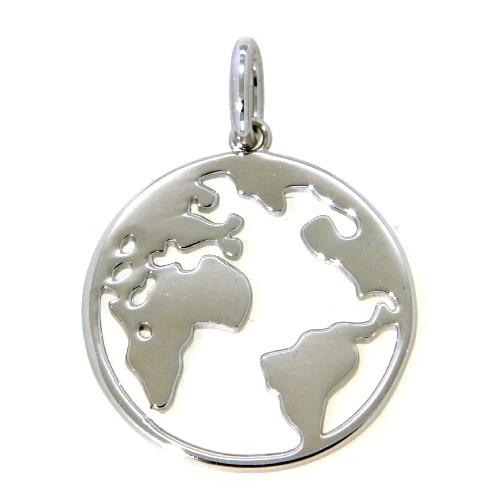 Anhänger Silber 925 rhodiniert Weltkugel