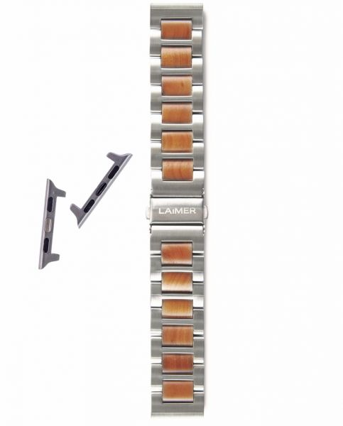 LAiMER Set Uhrband Apfelholz 20 mm für Apple Watch 38/40 mm