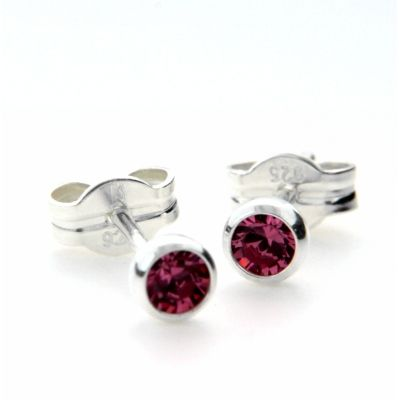 Ohrstecker Silber 925 Glas pink 3mm