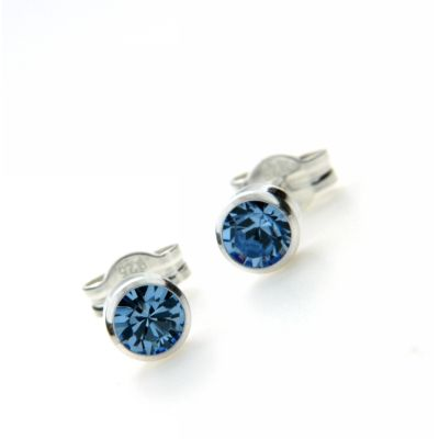 Ohrstecker Silber 925 Glas hellblau 4mm