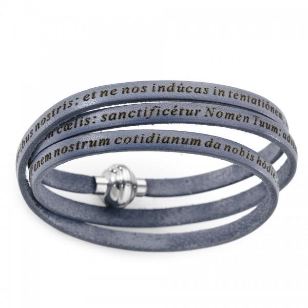 AMEN Armband 57 cm Leder grau VATER UNSER Latein PNLA24-57