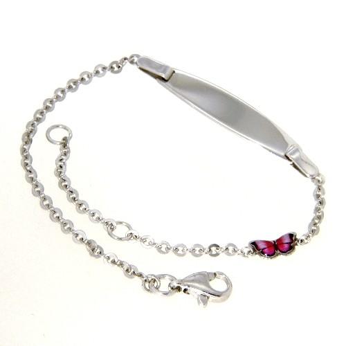 Identitäts-Armband Silber 925 rhodiniert 16-14 cm Schmetterling