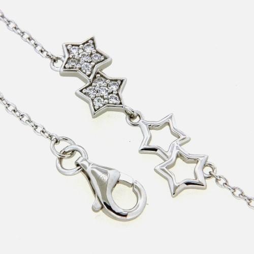 Armband Silber 925 rhodiniert Sterne 17 cm+2 cm