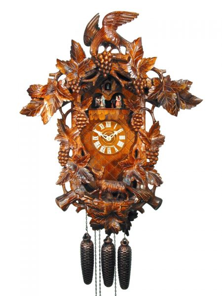 August Schwer Kuckucksuhr 8T Große Fuchs-Trauben-Uhr 60 cm 5.0290.01.P