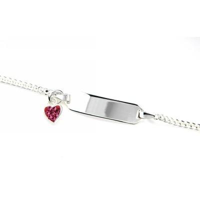Identitäts-Armband Silber 925 rhodiniert 14-12 cm Herz pink