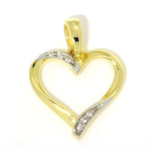 Herznhänger Gold 333 Zirkonia