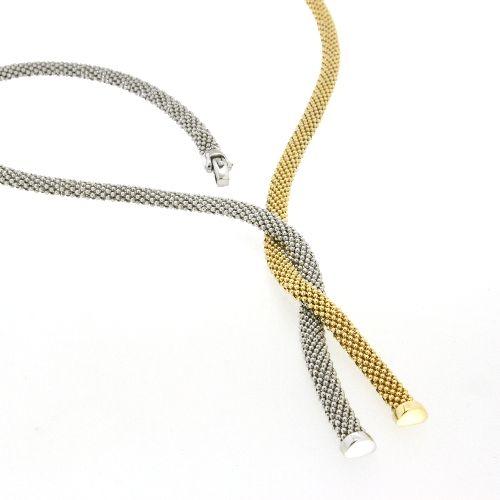 Collier Silber 925 rhodiniert bicolor gelb