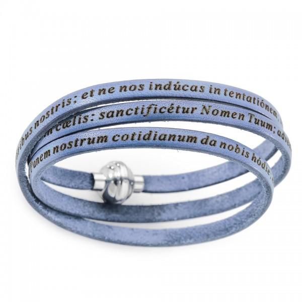 AMEN Armband 54 cm Leder hellblau VATER UNSER Latein PNLA22-54