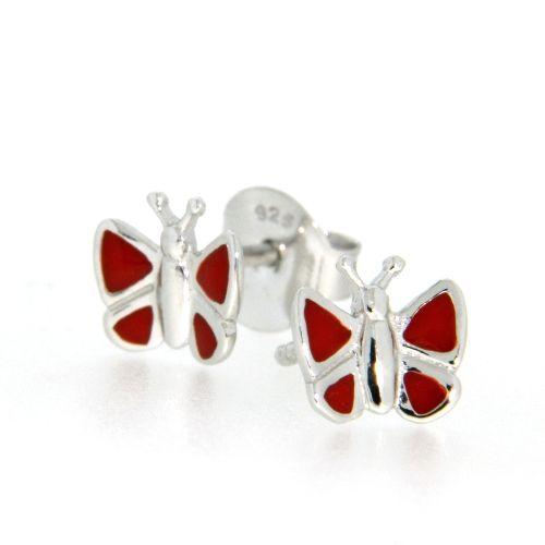 Ohrstecker Silber 925 Schmetterling rot