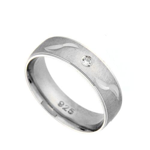 Freundschaftsring Silber 925 rhodiniert Zirkonia Breite 6 mm Weite 48