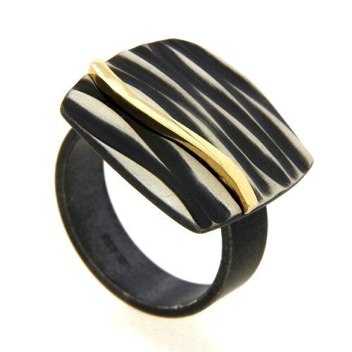 Ring Silber 925 oxidiert und vergoldet Weite 56