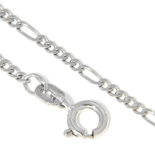 Figarokette (FP50) Silber 925 rhodiniert 42 cm