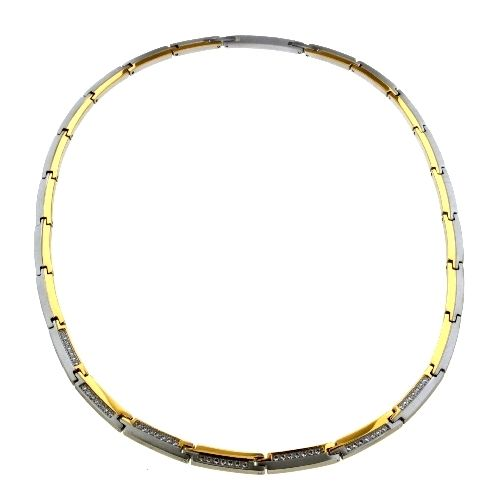 Collier Titan bicolor IPG 45+3 cm Zirkonia