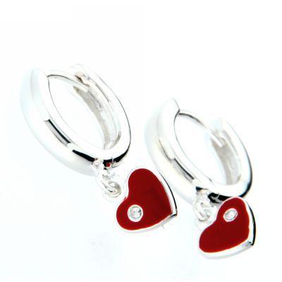 Scharniercreolen Silber 925 rhodiniert mit rotem Herzanhänger