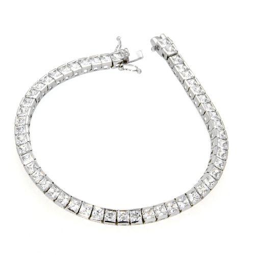 Armband Silber 925 rhodiniert 19 cm Tennisband