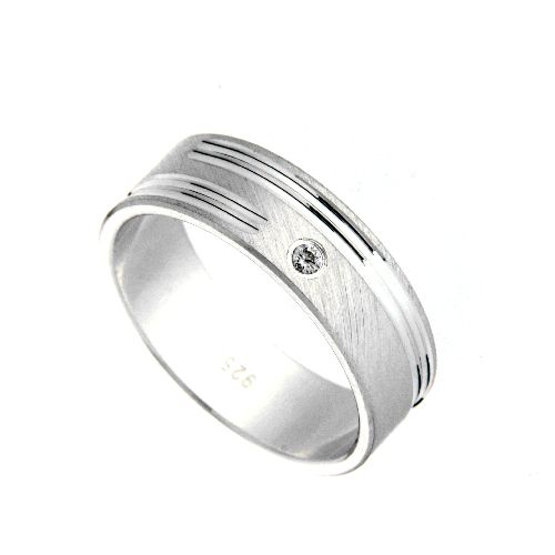 Freundschaftsring Silber 925 Zirkonia Breite 6 mm Weite 48